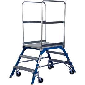 Podestleiter, frei rollbar, zweiseitig, Stufen Gitterrost