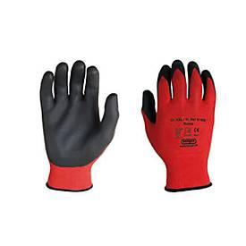 Polyester-Strickhandschuh Rottex, Nitril Handflächen-Beschichtung, flüssigkeitsdicht, 12 Paar, Größe M
