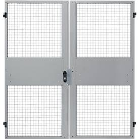 Portes à double battant, pour système de cloisonnement grillagé, l 2000 x H 2070 mm