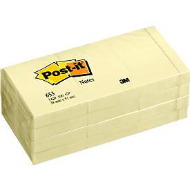Post-it® notitieblokken 653, 100 blaadjes, 51 x 38 mm, geel, 12 blokken