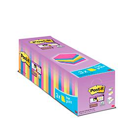 Post-it® Super Sticky Notes 654SE24P Bespaarpakket, 76 x 76 mm, 24 x 90 vellen, diverse kleuren, blanco, met een dikte van 1,5 mm.