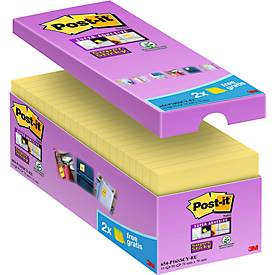 Post-it® Super Sticky notes, geel, voordelige pack 14 + 2 gratis