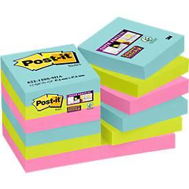 Post-it® Super Sticky Notes, Miami-Farbkollektion, 12 Blöcke a 90 Blatt