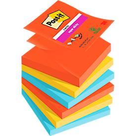 Post- it® Super Sticky Z-Notes, navulblokken, Bora Bora R3306SJ (papaverrood, neongroen, ultrablauw), 76 x 76 mm, 6 blokken