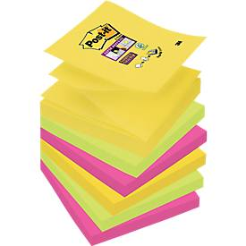 Post- it® Super Sticky Z-Notes, navulblokken, Rio de Janeiro R3306SR (ultrageel, -roze, neongroen), 76 x 76 mm, 6 blokken