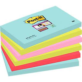 Post-it® Super Sticky Notes 6556SMI, Miami-Farbkollektion, 6 Blöcke a 90 Blatt