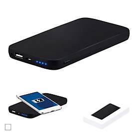 Powerbank 6.000 mAh mit Wireless Charger für Qi-fähige Mobilgeräte, in schwarz