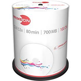 PRIMEON CD-R, bedruckbar, bis 52fach, 700 MB/80 min, 100er-Spindel