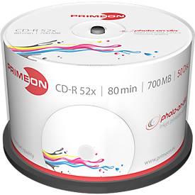 PRIMEON CD-R, bedruckbar, bis 52fach, 700 MB/80 min, 50er-Spindel
