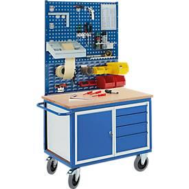 Professionele werkbankwagen, kast, 4 laden, geperforeerde moduleplaat, moduleplaat met uitsparingen