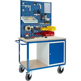Professionele werkbankwagen met kast, 2x geperforeerde moduleplaat, 1x moduleplaat met uitsparingen 1250 x 700 x 1990 mm