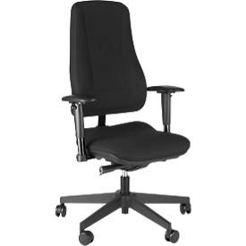 Prosedia Bürostuhl LEANOS V ERGO, Synchronmechanik, ohne Armlehnen, hohe Rückenlehne, schwarz/schwarz