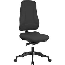 Prosedia Bürostuhl LEANOS V KOMFORT, Synchronmechanik, ohne Armlehnen, hohe Rückenlehne, Knierolle, schwarz/schwarz
