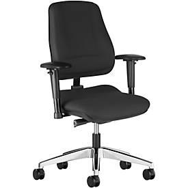 Prosedia LEANOS V ERGO bureaustoel, rugleuning 550 mm, zonder armleuningen, zwart/gepolijst alu
