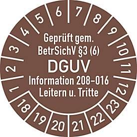 Prüfplakette, Geprüft gem. BetrSichV °3 (6) DGUV Information 208-016 Leitern u. Tritte, blau