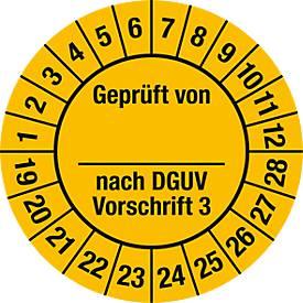 Prüfplakette, Geprüft von, nach DGUV Vorschrift 3 (2019-2028)