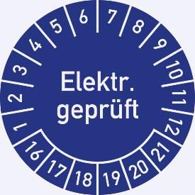 Prüfplakette, Elektr. geprüft (2016-2021)