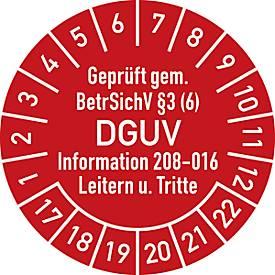 Prüfplakette, Geprüft gem. BetrSichV °3 (6) DGUV Information 208-016 Leitern u. Tritte