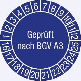 Prüfplakette, Geprüft nach BGV A 3 (2016-2025)