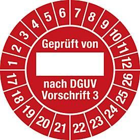 Prüfplakette, Geprüft von, nach DGUV Vorschrift 3 (2017-2026)