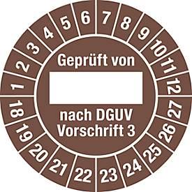 Prüfplakette, Geprüft von, nach DGUV Vorschrift 3 (2018-2027)