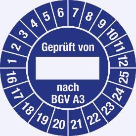 Prüfplakette, Geprüft von...nach BGV A 3 (2016-2025)