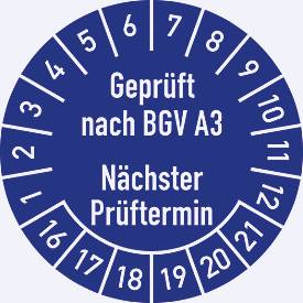 Prüfplakette, Geprüft von...nach BGV A 3 Nächster Prüftermin (2016-2021)