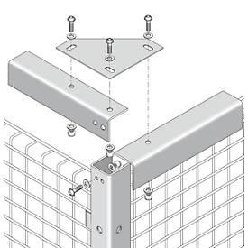 Raccord d'angle, pour système de cloisonnement grillagé, pour la stabilisation