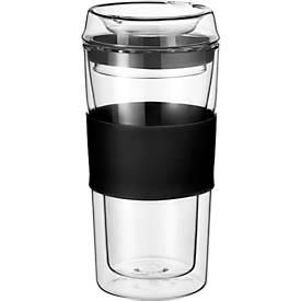 Rastal Thermobecher ToGo, aus doppelwandigem Glas, mit Deckel, Inhalt 0,36 L