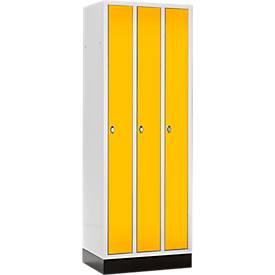 Raumspar-Garderobenschrank, 3 Abteile, mit Sockel