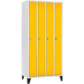 Raumspar-Garderobenschrank, 4 Abteile, mit Füßen