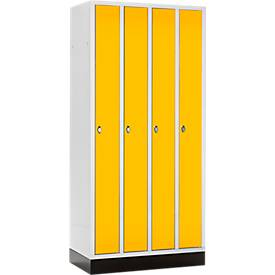 Raumspar-Garderobenschrank, 4 Abteile, mit Sockel