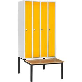 Raumspar-Garderobenschrank, 4 Abteile, Sitzbank