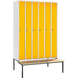 Raumspar-Garderobenschrank, 6 Abteile, mit Sitzbank, lichtgrau/gelb