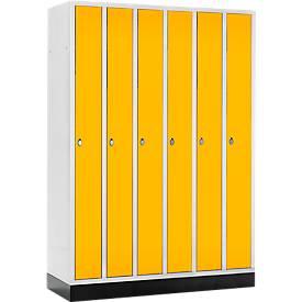Raumspar-Garderobenschrank, 6 Abteile, mit Sockel
