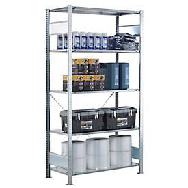 Rayonnage à étagères, utilisable d'un côté, galvanisé, avec 5 étagères