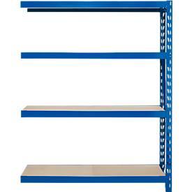 Rayonnage emboîtable longue portée, élément d'extension, 4 étagères, au choix 3 hauteurs et 2