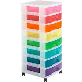 Really Useful Box Boxenturm, 8x9 Rainbow, mit Rollen