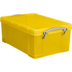 Really Useful Boxes Bac plastique transparent avec couvercle, jaune