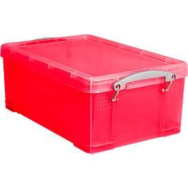 Really Useful Boxes Bac plastique transparent avec couvercle, rouge