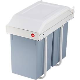 Recycleerbare verzamelaar Hailo Multi-Boxduo L, 2 x 14 l, plaatstaal/kunststof, crème/wit, met deksel.