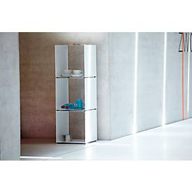 Regal Jan Kurtz Cubus, Würfelform, stapelbar, ohne Fachböden, B 350 x T 350 x H 360 mm, Stahlblech, weiß
