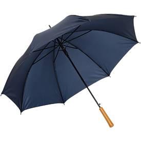 Regenschirm LIMBO, 170T Kunststoff, Griff in Holzoptik, Öffnungsautomatik, marine