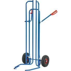 Reifenkarre, Stahlrohr, für 8 Reifen, Ø 450-750 mm, bis 200 kg, Luft-Bereifung, brillantblau (RAL 5007)