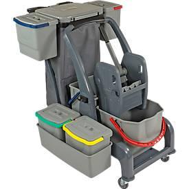 Reinigingswagen Sprintus CombiX PRO XL, 6 emmers / 67 l in totaal, vuilniszakhouder, kuip, voor binnen, grijs