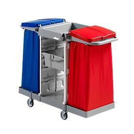 Reinigungswagen Abfallsammler Duo, inkl. 2 Ablageschalen u. 2 Abfallsackhalterungen