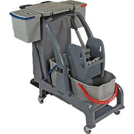 Reinigungswagen Sprintus CombiX XL, 4 Eimer/55 l insg., Müllsackhalterung, für Innenbereich, grau