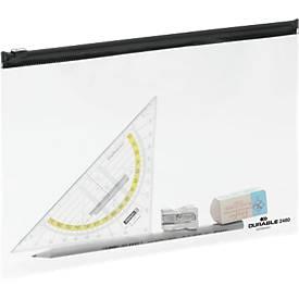 Reißverschlusstasche ZIP BAG, transparent mit schwarzem Zipper, A5, 5 St.