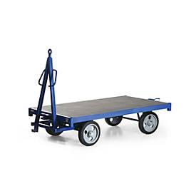 Remorque industrie, simple timon de guidage, capacité 3000 kg, caoutchouc plein