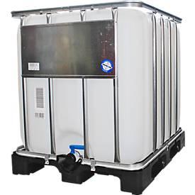 Réservoir IBC, réservoir pour produits liquides sur palette plastique, 1000 litres, l. 1000 x H 1163 mm